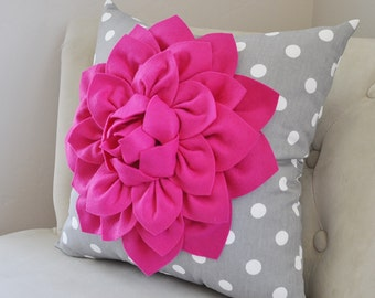 Hot Pink Pillow Covers Dahlia Flower Decorative Pillow Cover Pillows Home Decor Cotton Fuchsia Pink Flower on Gray Polka Dot Pillow