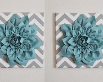 "Wall Decor Flowers set of TWO - Dusty Blue Dahlia Flowers on Gray and White Chevron 12 x12"" Canvas Wall Art- Baby Nursery Wall Decor-"