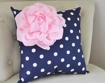 Decorative Pillow Light Pink Corner Dahlia on Navy and White Polka Dot Pillow Home Decor Nursery Decor