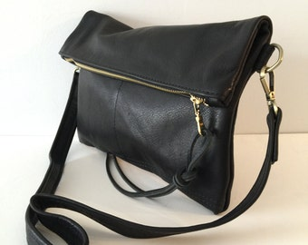 Black Leather Clutch , Large Fold over Clutch , cross body bag , black leather cross body clutch