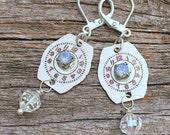 vintage repurposed watch dials earrings   repurposed rhinestones   steampunk   ashtown earrings