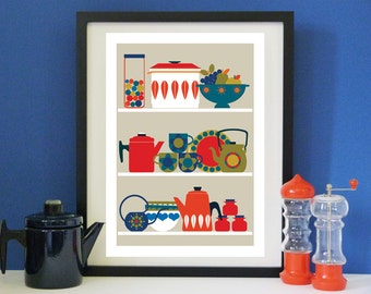 Vintage Kitchen A3 print for  lovers of Finel & Cathrineholm enamel.