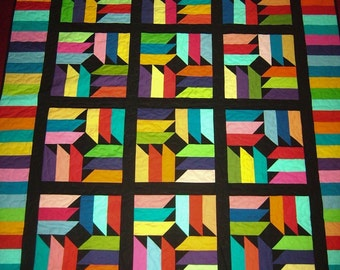 """Robert Kaufman """"Kona Cottons"""" Windmills Quilt  Made in USA-58"""" X 65""""  Free Shipping-Made in USA by MJ"""