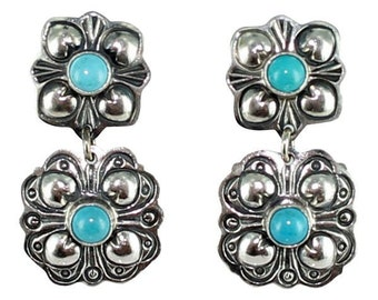 Sleeping Beauty Turquoise 2 Stone Decorative Earrings 1.4""