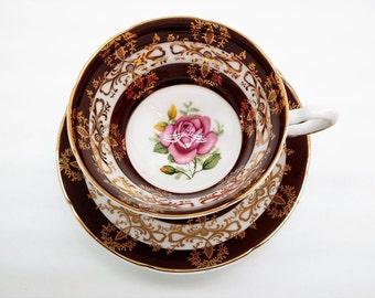 Vintage 1950's Royal Grafton teacup, hand painted tea cup, tea cup and saucer, Gold Maroon, Pink Rose, English teacup bone china tea cup