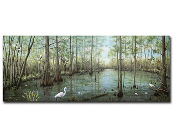 33×13 in. Slough Everglades- Print on Wood, Gallery Wrap Canvas, Acrylic Prints, Photo on Wood, Photo on Canvas, Custom Acrylic Prints pa022