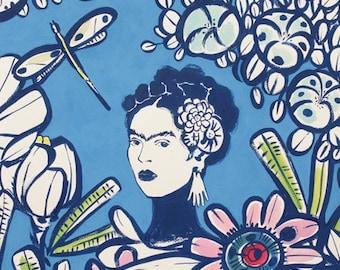 Frida Kahlo's Cactus Flower-  Blue- Alexander Henry Scenes 1 Yard Fabric