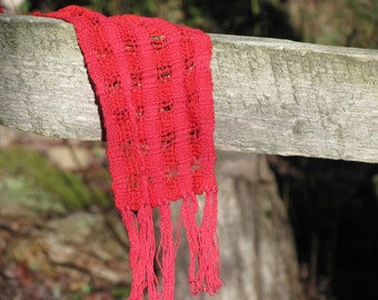Rustic Fire Red Lattice Scarf, Mens Womens Fashion Summer Scarf, Casual Beach Cottage Woodland Country Boho Chic Artisan Hand Woven Scarf