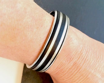 Leather Cuff , Leather Bracelet , Silver Bracelet , Adjustable Bracelet ,  Rock n Roll Jewelry , Gift For Her , Cool Girl Gift ,   Amy Fine