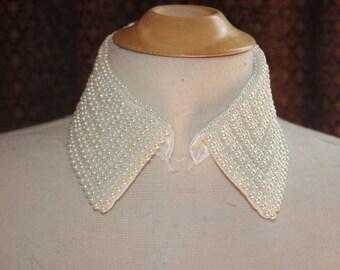1 Cream satin Peter Pan embellished collar mesh pearls pearl a2