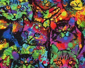 Cattitude Rainbow Cats - Timeless Treasures - 1 yard - More Available - BTY