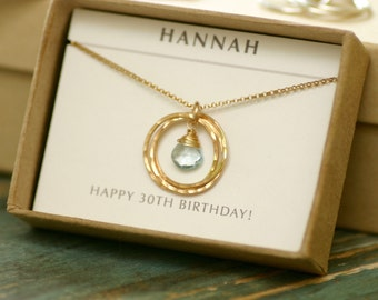 30th birthday gift for her, blue topaz necklace gold, December birthstone jewelry for her, 3 sister necklace for girlfriend - Lilia