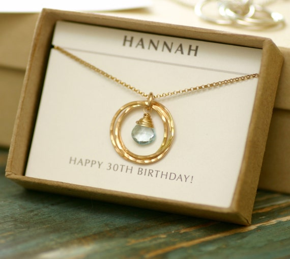 Wedding Anniversary Gifts For Sister India : 30th birthday gift for her, blue topaz necklace gold, December ...
