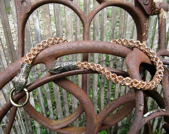 Solid Bronze Chainmaille Snake Torc