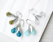 Titanium Earrings Drop, Frosted Glass Jewelry, Teal, Olive Green, Clear, 10th Wedding Anniversary Gift, Aluminum, Silver Teardrop
