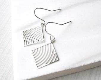 Silver Geometric Dangle Earrings, Modern Jewelry, Lightweight, Light, Drop, Clip On, Metal, Nickel Free, Sterling Silver, Titanium Options