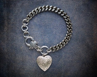 Heavy Antique Silver Curb Chain Bracelet with Antique Textured Heart Charm with Rhinestone