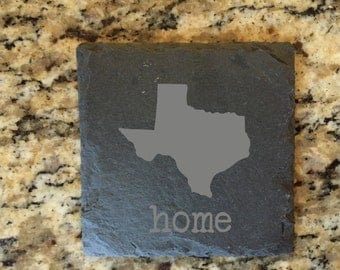 TEXAS  Home Etched Slate Coaster (Any State Available)