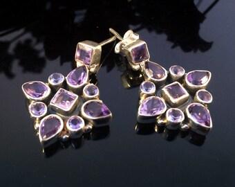 Amethyst Earrings,Gemstone 925 Silver Earrings,Birthstone jewelry,Purple Minimalist earrings by Taneesi