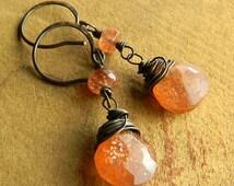 Sunstone Drop Earrings Copper Wire Wrapped Rustic Apostle Islands Jewelry