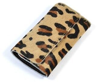 Leopard print Leather Tri Fold Key Wallet Case Handmade
