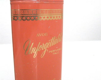 Vintage Avon Unforgettable Perfumed Talc Powder Retro Boutique Decor