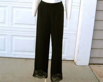 Black Lace Pants 80's Due per Due Collection Size 8 CLEARANCE