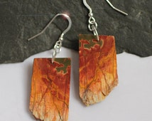 Natures Picasso - Freeform Picasso Jasper Slice Sterling Silver Earrings