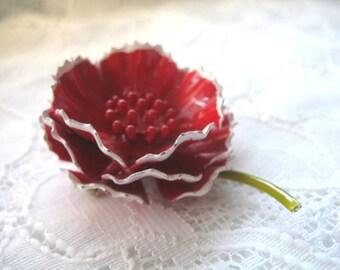 Vintage Enamel Cluster Flower Brooch ~ Red w/ White Trim