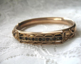 Vintage Victorian Bangle Bracelet ~ Red & Crystal Rhinestones ~ Hinged