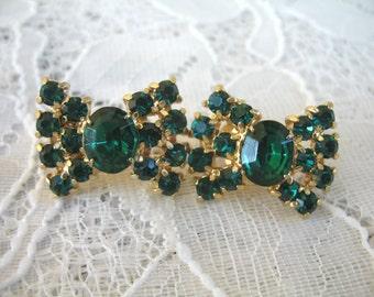 Vintage Rhinestone Earrings ~ Screwback ~  Emerald Green Bows ~ Rhinestone
