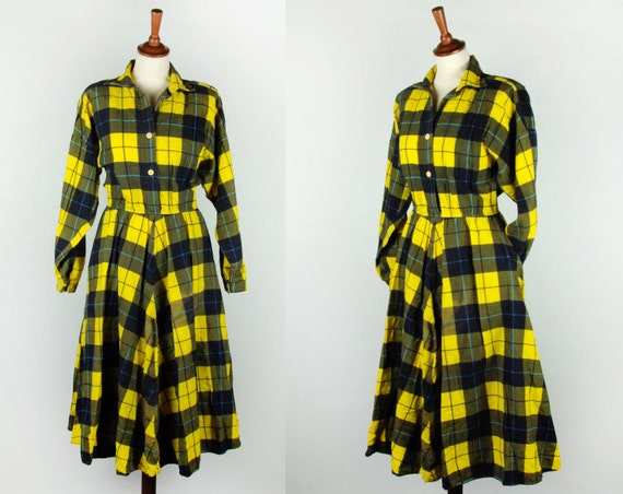 Plaid Yellow Flannel Dress with Pockets