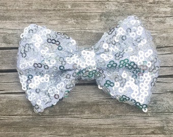 Silver Hair Bow, Silver Sequin Hair Clip, Toddler Hair Bow, Sparkly Silver Hair Bow, Glitter Bows, Silver Sequin Hair Bow, Sparkly Bows