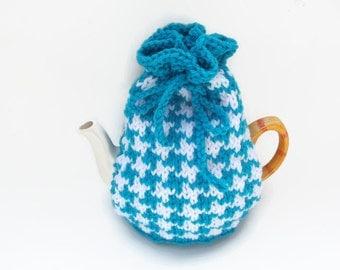 tea cozy hand knitted tea pot  cosy orange and cream