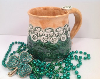 Shamrock mug/mug/celtic pottery/mug/coffee mug/irish pottery/kelly green/irish flag/