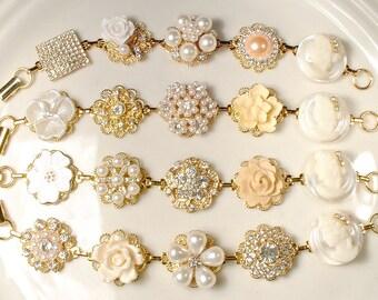 OOAK Ivory Champagne Pearl Rhinestone Gold Bridesmaid Bracelet Set 4 5 6 7 8 9, Vintage Wedding Earring Bracelets Bridal Jewelry Rustic