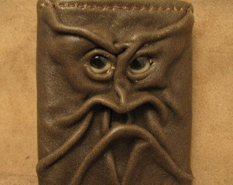 Grichels leather tri-fold wallet - distressed brown with lemonade fish eyes