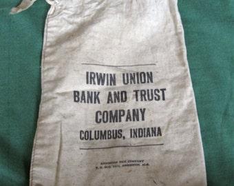 Vintage Bank Money Coin Bag Sack Irwin Union Bank Columbus Indiana