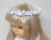 Floral Communion Wreath White Silk Flowers Pearls Child Halo Headpiece Bridesmaid Flowergirl Hair Accessory