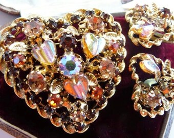 vintage Austria heart shaped brooch earrings set | Austrian crystal rhinestones | signed