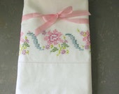 Vintage Embroidered Pillowcases, set, Cross Stitch, floral. pink aqua,  pastels
