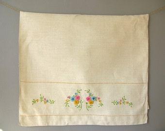 Vintage Embroidered Guest Towel, tea towel, linen