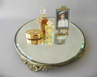 Vintage pedestal mirror, vanity mirror, brass,round, beveled, footed