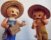 Pair of Vintage Japan Shibaten Futaba Kappa Turtle Dolls Gone Fishing