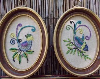 Pair of Oval Framed Crewel Embroidery Blue Birds Wall Art