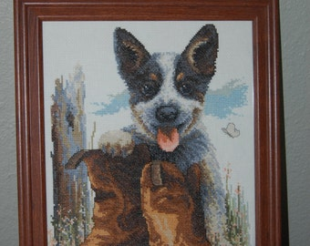 "COWBOY PUPPY - ""Completed and Framed Cross Stitch"""