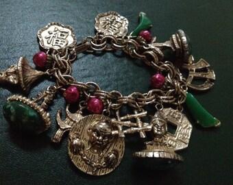 Asian Theme Vintage Charm Bracelet – Unusual Figures 1950s Jewelry