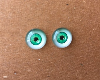 doll Glass eyes flat back 10 mm diameter 6 mm iris GREEN