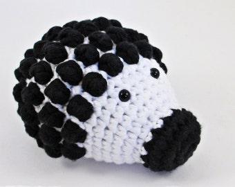 Crochet amigurumi soft baby rattle Hedgehog - black and white - organic cotton