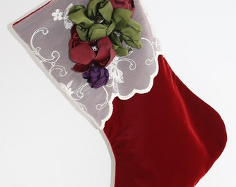 Red Velvet Stocking with white lace cuff and handmade flowers - ready to ship
